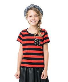 Black & Orange Stripe Sequin-Pocket Top - Girls