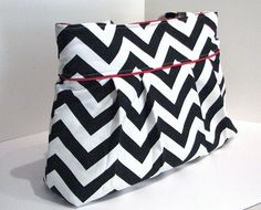 Pleated diaper bag tote Medium . Chevron . Black and White Chevron Red trim . double shoulder straps Messenger Straps . Design your Own | DoodlescootDesigns - Bags & Purses on ArtFire