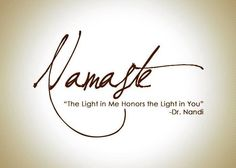 Namaste, The Light In Me Honors The Light In You. -Dr. Nandi