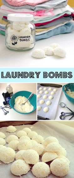 An interesting idea for DIY detergent - this all-in-one laundry bomb acts as a detergent, softener, and stain remover!