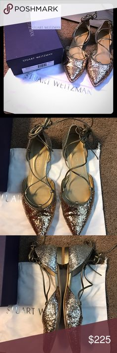 Glitter gold Stuart Weitzman Gillian d'Orsay flats Beautiful flats that lace up ankle!! I just don't wear these beauties enough. Will come with everything pictured. Great condition. Size 8.5 **Will not negotiate price in comments section- please use offer feature. Stuart Weitzman Shoes Flats & Loafers