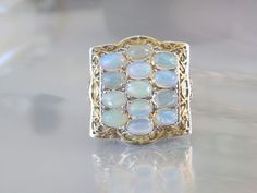 Large Ethiopian Welo Opal Sterling Silver 925 Gold Cluster Designer Ring Size 8 #Designer #Statement