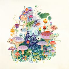 the first series (Aqua) Explores the mythology around nature and its phenomena, using watercolors in a controlled technique