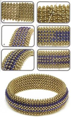 bracelets of gold and blue beads Originally from a pattern by.  Shelley Nybakke - SturdyGirlDesigns