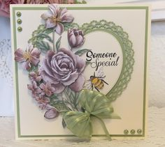 Tattered Lace Cards, Paper Flower Tutorial, 3d Cards, Beautiful Handmade Cards, Birthday Cards For Men, Create And Craft, Heart Cards, Lace Flowers, Sympathy Cards