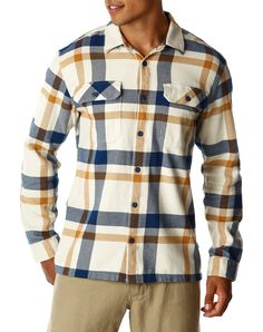 Patagonia Male Fjord Flannel Shirt - Comstock: Channel Blue