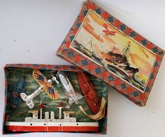 ULTRA RARE Vintage Boxed Miniature Toy Vehicles Plane - Zeppelin - Ships , KS Japan
