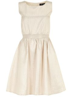 Beige textured jacquard dress