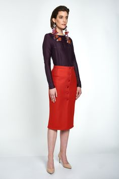 The skirt is versatile enough to pair with a blouse at work or a tee in the weekend. It is made from wool with a slight stretch in a classic pencil silhouette and minimally detailed with tonal buttons. Wool Skirts, Mid Length, High Waisted Skirt, Pencil, Ootd, Silhouette, Buttons, Pure Products, Orange