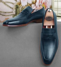 Paul Parkman Paul Parkman Men's Ocean Blue Leather Penny Loafers #Fashion