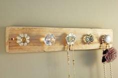Reclaimed Wooden Jewellery Hook Board Natural
