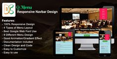 Q Menu - Responsive Navbar Design . The Q Menu – Responsive Navbar Design is a professional CSS2 & CSS3 jQuery Q Menu – Responsive Navbar Design item compatible with any framework, website and template. This Navbar comes with  horizontal and Vertical version and 9 different design with each 4 types of
