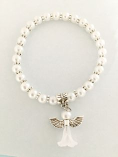 Angel memorial bracelet - Mini angel charm with faux pearl - Faux pearl expandable stretch bracelet with bail for dangling your charms
