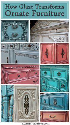 How Glaze Transforms Ornate Furniture ~ Facelift Furniture http://www.faceliftfurniture.com/glaze-transforms-ornate-furniture/