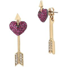 Betsey Johnson Pave Heart Ear Jackets ($35) ❤ liked on Polyvore featuring jewelry, earrings, pink, betsey johnson jewellery, betsey johnson, pink heart earrings, heart shaped earrings and heart jewelry