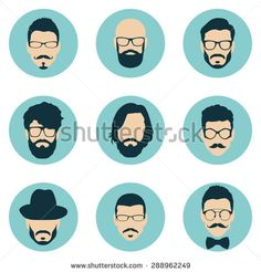 set of hipster avatars for social media or web site. man face icons. vector illustration