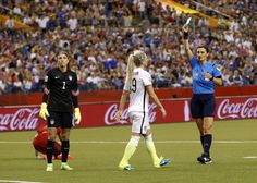 Julie Johnston's yellow card in the box vs. Germany, June 30, 2015. (USA TODAY Sports)