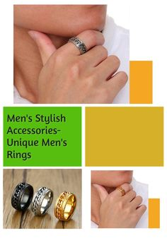 Finish off any look with these Rotatable punk ring for men trendy styles. This stylish mens ring is at the top of the jewelry hit list this season. Wear this men's fashion ring with your outfit of the day and earn some serious style points. Wear this trendy ring for men with your existing men's wardrobe pieces to complete all fashion look. Cool Edgy rings for men trendy outfit and street styles. Men fashion jewelry. Men's trendy jewelry, Men's classy jewelry, Men's fashionable rings, Men's Fashion Jewelry, Fashion Rings, Men Fashion, Cool Rings For Men, Unique Mens Rings, Trendy Accessories, Trendy Jewelry, Fashion Accessories, Smart Ring