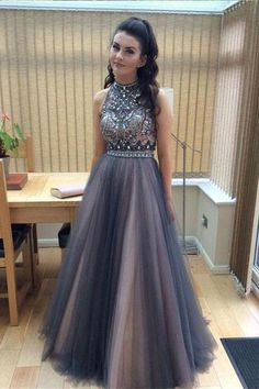 7777ba4f863f Top Selling Long 2 Pieces Beading A-line Open Back Tulle Modest Prom Dresses  Z0313