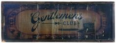 Gentlemen's Club Vintage Style Sign with Lounge and Drink