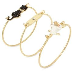 Betsey Johnson Gold Gold-Tone Cat And Mouse Wire Bangle Bracelet Set ($35) ❤ liked on Polyvore featuring jewelry, bracelets, gold, wire bangle bracelet, hinged bracelet, gold jewellery, gold hinged bangle and gold tone jewelry