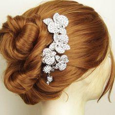 Vintage Style Bridal Hair Comb, Crystal Orchids Wedding Hair Comb, Rhinestone Bridal Hair Accessories, Bridal Headpiece, ORCHID BLOOM