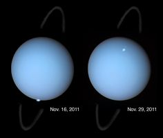 Uranus' northern lights have an unusual form and different location compared to Earth's due to the planet's unusually large tilt and offset magnetic field. Description from asterisk.apod.com. I searched for this on bing.com/images