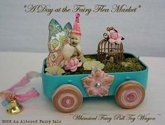 A Day at the Fairy Flea Market Booth Displays, Retail Displays, Shop Displays, Jewelry Displays, Merchandising Displays, Window Displays, Altered Tins, Altered Art, Toy Wagon
