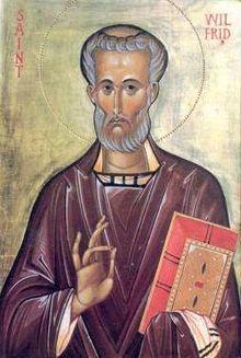 """Icone de Wilfrid d'York.(633-710)- DAGOBERT II- 2)SOURCES. 2.2: CHAP 43 DU LIVRE DE L'HISTOIRE DES FRANCS (v 727): """"Plus tard à la mort de Sigebert, GRIMOALD soumit son jeune fils à la tonsure et le contraignit avec l'évêque de Poitiers, DIDON, à s'expatrier en IRLANDE, afin de placer son propre fils à sa place""""."""