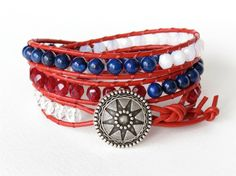 4th of July Independence Day Bracelet - Handmade by MirasBeadBoutique