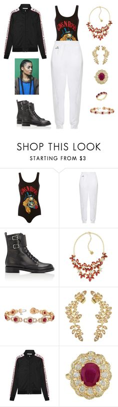 """""""Bow & Arrows"""" by lemonsandroses on Polyvore featuring MadeWorn, adidas, Gianvito Rossi, Anne Klein, Allurez, Givenchy and Effy Jewelry"""