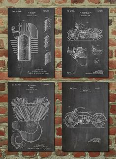 Harley Davidson Patent Posters Group of 4, Harley Davidson Sign, Vintage Motorcycle, Motorcycle Parts, Motorcycle Gift, Harley Patent