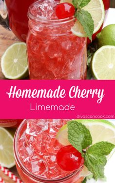 Homemade Cherry Limeade- Better Than Sonic Fruit Drinks, Smoothie Drinks, Healthy Drinks, Smoothies, Cherry Vodka Drinks, Drinks Alcohol, Healthy Juices, Alcoholic Beverages, Cold Drinks