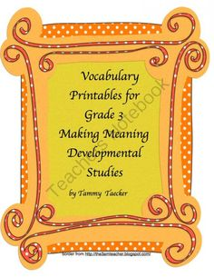 Printables for Making Meanings Vocabulary Curriculum from Tammy Taecker on TeachersNotebook.com -  (50 pages)  - This is an entire year's worth of material to enrich your vocabulary program when using Making Meaning from Developmental Studies Center.  This is for the specific vocabulary curriculum.
