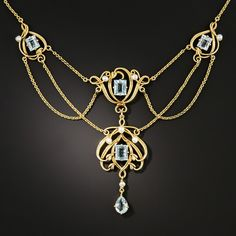 Art Nouveau Aquamarine and Pearl Necklace - What's New