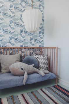 Children& room in gray, blue, white. The baby room is comfortably furnished without . - Baby room decoration - Children& room in gray, blue, white. The baby room is comfortably furnished without … -