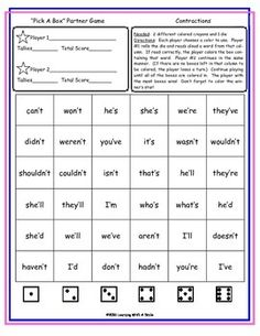 Earth Day (Freebie) Partner Game ~ Pick-A-Box ~ Word Work Activity Literacy Games, Word Work Activities, Literacy Stations, Literacy Centers, Kindergarten Literacy, Contraction Games, Contraction Worksheet, Reading Words, Reading Skills
