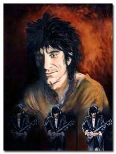 Triple Self Portrait by Ronnie Wood Ronnie Wood Art, Keith Richards Guitars, David Wood, Ron Woods, Moves Like Jagger, Greatest Rock Bands, Rock Posters, Art For Art Sake, Stone Art