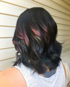 oil slick balayage joico intensity colours sapphire blue green pink amethyst purple curls dark hair summer 2017 haircut lob unicorn hair