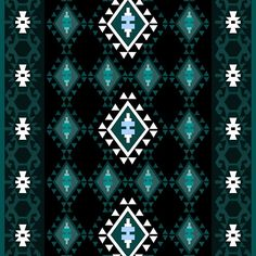 Turquoise and black Balkan kilim lucky charm pattern  Rustic surface pattern, ideal for boho chic interiors. Geometric pattern inspired by original balkan kilim together with trendy colors makes it both chic and simple.
