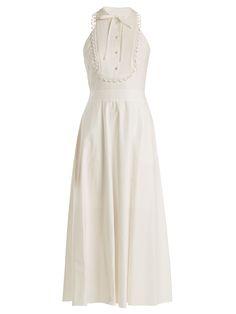Temperley London Fountain halterneck cotton midi dress