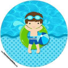 Rotulo Tubete 2 Pool Party Menino