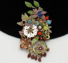 Fabulous STANLEY HAGLER Beaded Floral Enamel Brooch