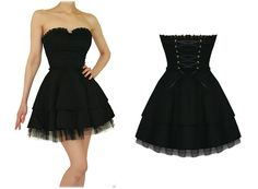Punk Prom Dresses | ... and Roses London Strapless Black Lace Gothic Emo Mini Party Prom Dress
