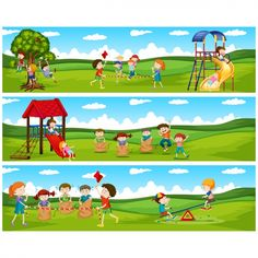 Kids playing banners collection Premium Vector