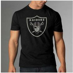 '47 Brand Men's Oakland Raiders Logo Scrum T-Shirt ($38) ❤ liked on Polyvore featuring men's fashion, men's clothing, black, mens clothing and men's apparel