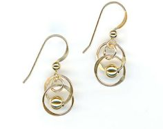Small Gold Circle Gold Beaded Earrings