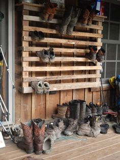 Day 10 -- Hiker footwear covers the porch at a hiker hostel on the Appalachian Trail. Day 10 -- Hiker footwear covers the porch at a hiker hostel on the Appalachian Trail. Outdoor Shoe Storage, Boot Storage, Diy Shoe Storage, Firewood Storage, Storage Ideas, Garage Storage, Boot Rack, Diy Store, Pallet Furniture