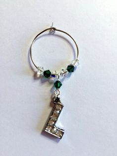 Letter 'L' Wine Glass Charm - with Swarovski Crystals - birthstone gift idea by Makewithlovecrafts on Etsy