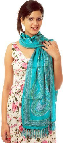 Exotic India Cyan Scarf with Printed Paisleys - Cyan Exotic India. $55.00
